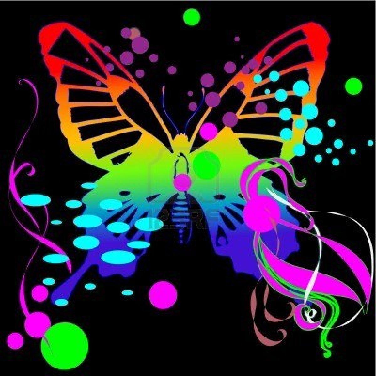 Neon Butterfly Wallpap... Neon Butterfly Wallpaper