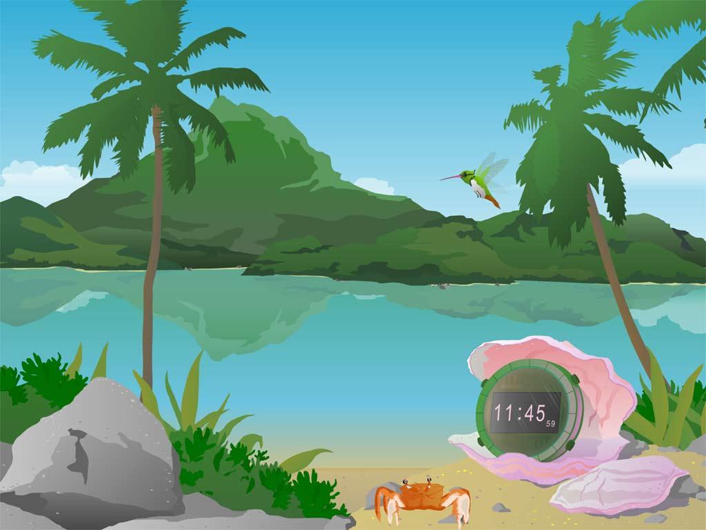 Clock ScreenSaver   Put a tropical island to your desktop Sunny 1024x768