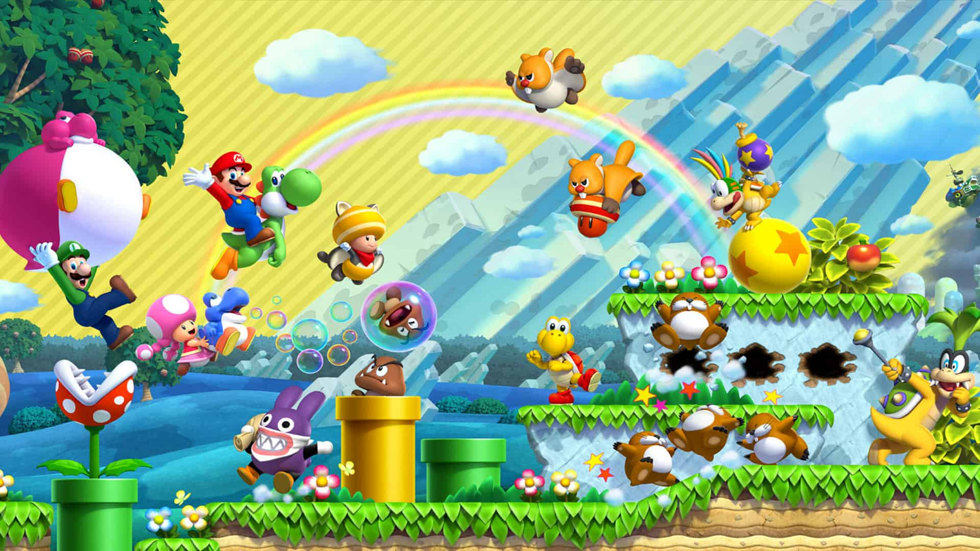 New Super Mario Bros U Deluxe characters wallpaper 166 1920x1080