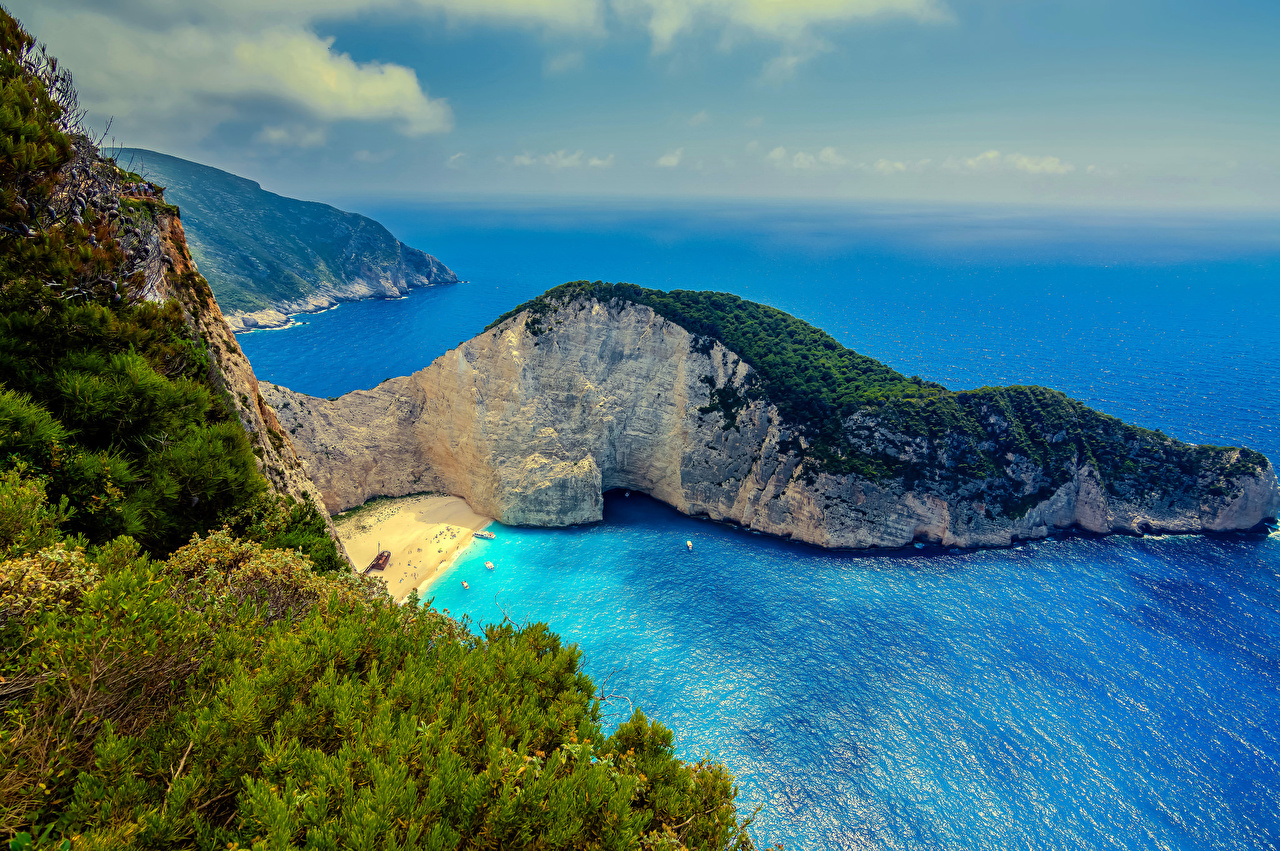 Images Greece Zakynthos Sea Crag Nature Coast From above 1280x851