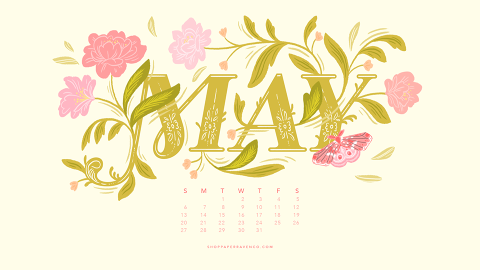 May 2018 Illustrated Desktop Wallpaper Paper Raven Co 960x540