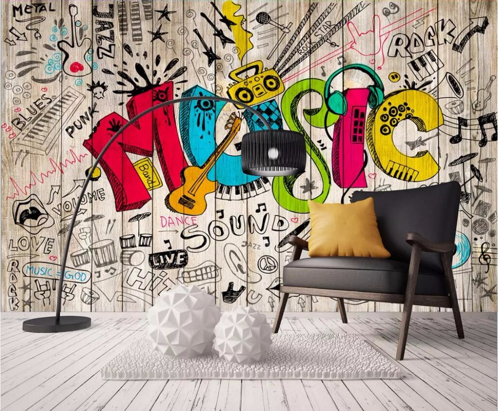 custom mural 3d photo wallpaper Hand drawn cartoon doodle music 1000x826