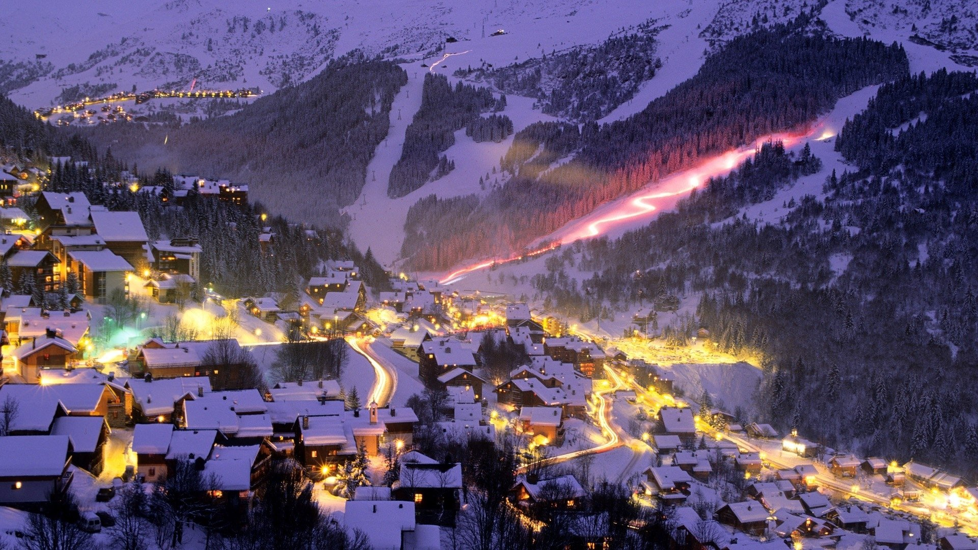 resort sports ski snowboard mountains nature slopes light timelapse 1920x1080