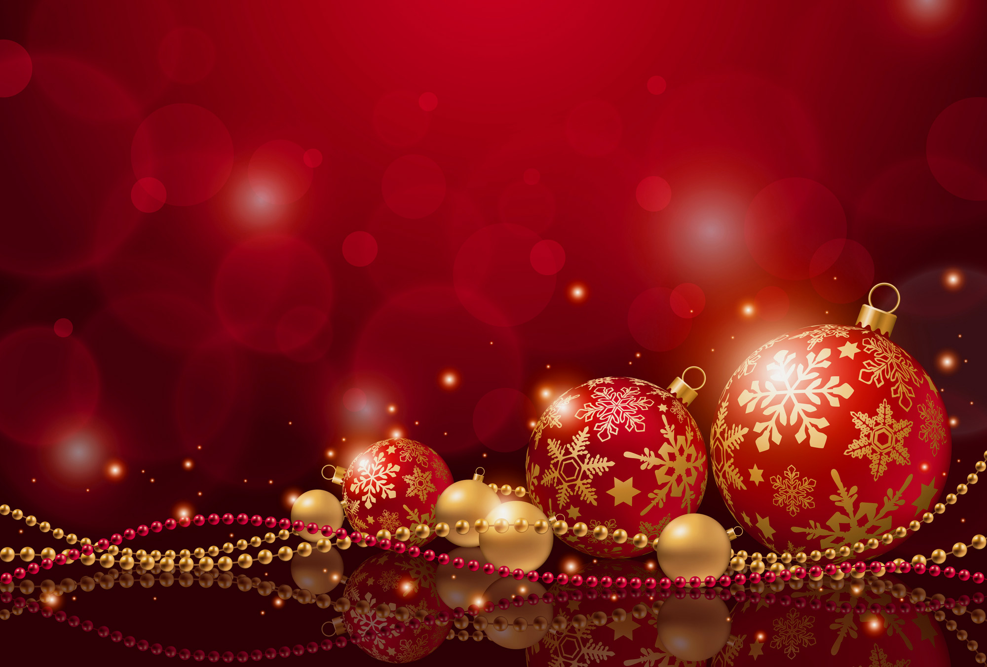 Red Christmas Background with Christmas Balls Gallery 2000x1351