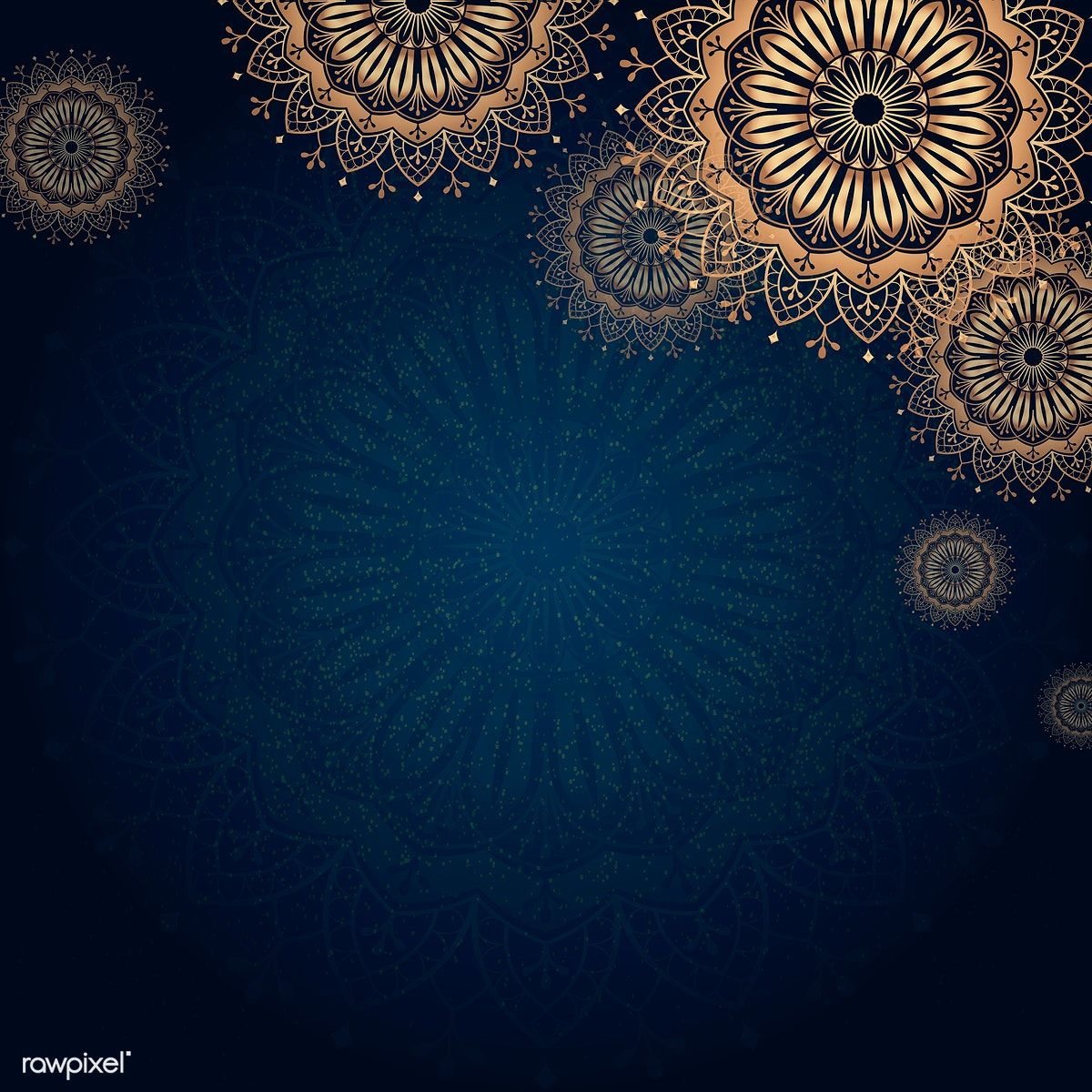 Download premium vector of Gold mandala on navy blue background 1200x1200