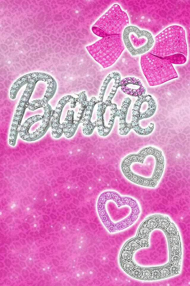 Barbie Logo Wallpaper Black And Pink Barbie logo wallpaper tumblr 640x960