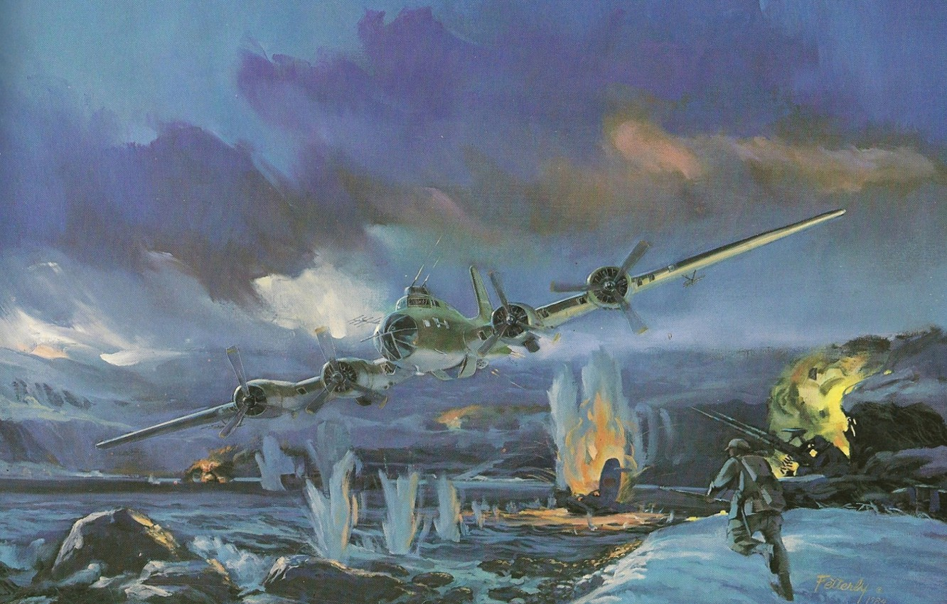 Wallpaper Boeing Art B 17 Heavy First Flying fortress Flying 1332x850