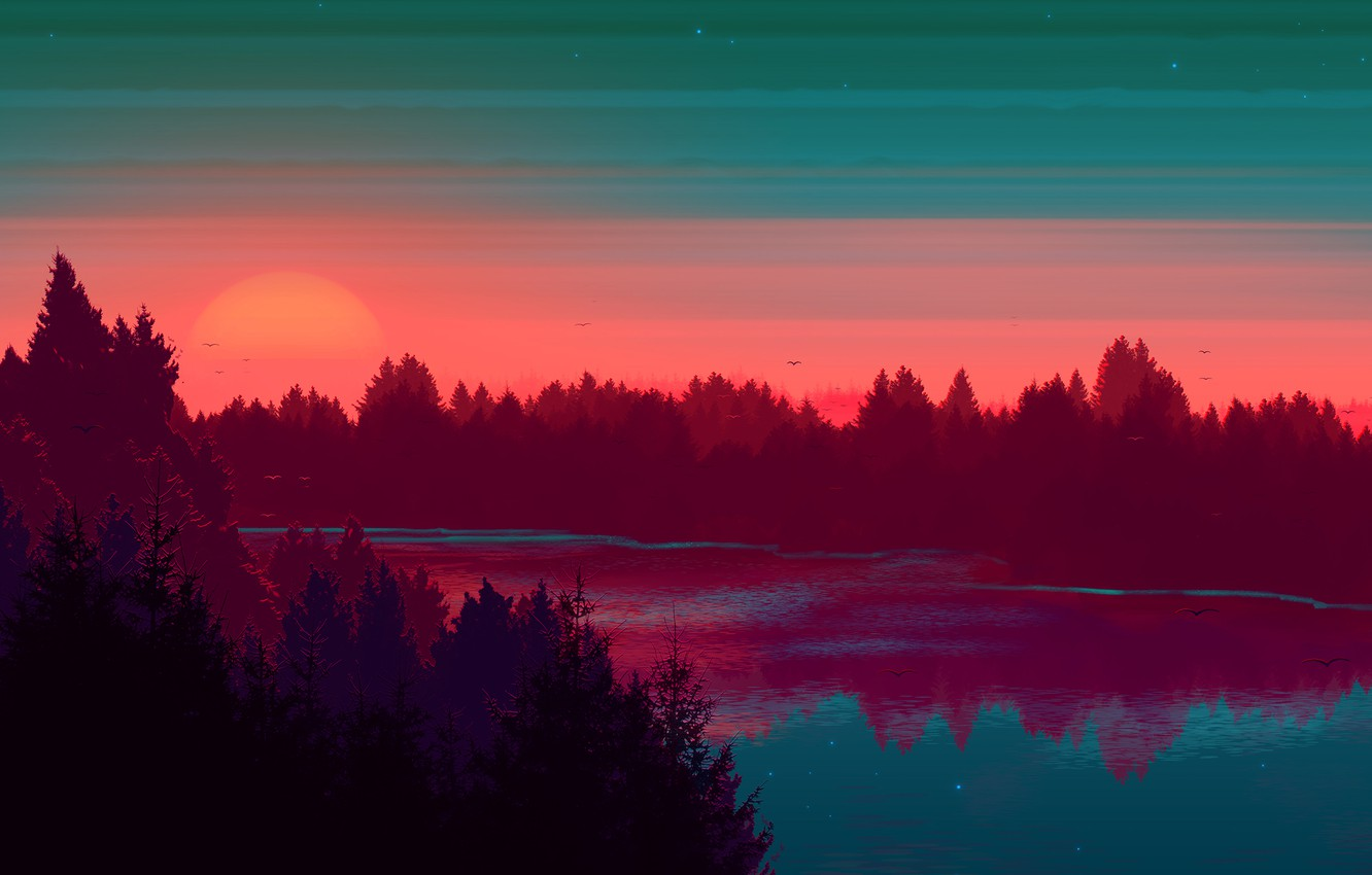 Wallpaper Sunset The sun The sky Water Tree River Forest 1332x850