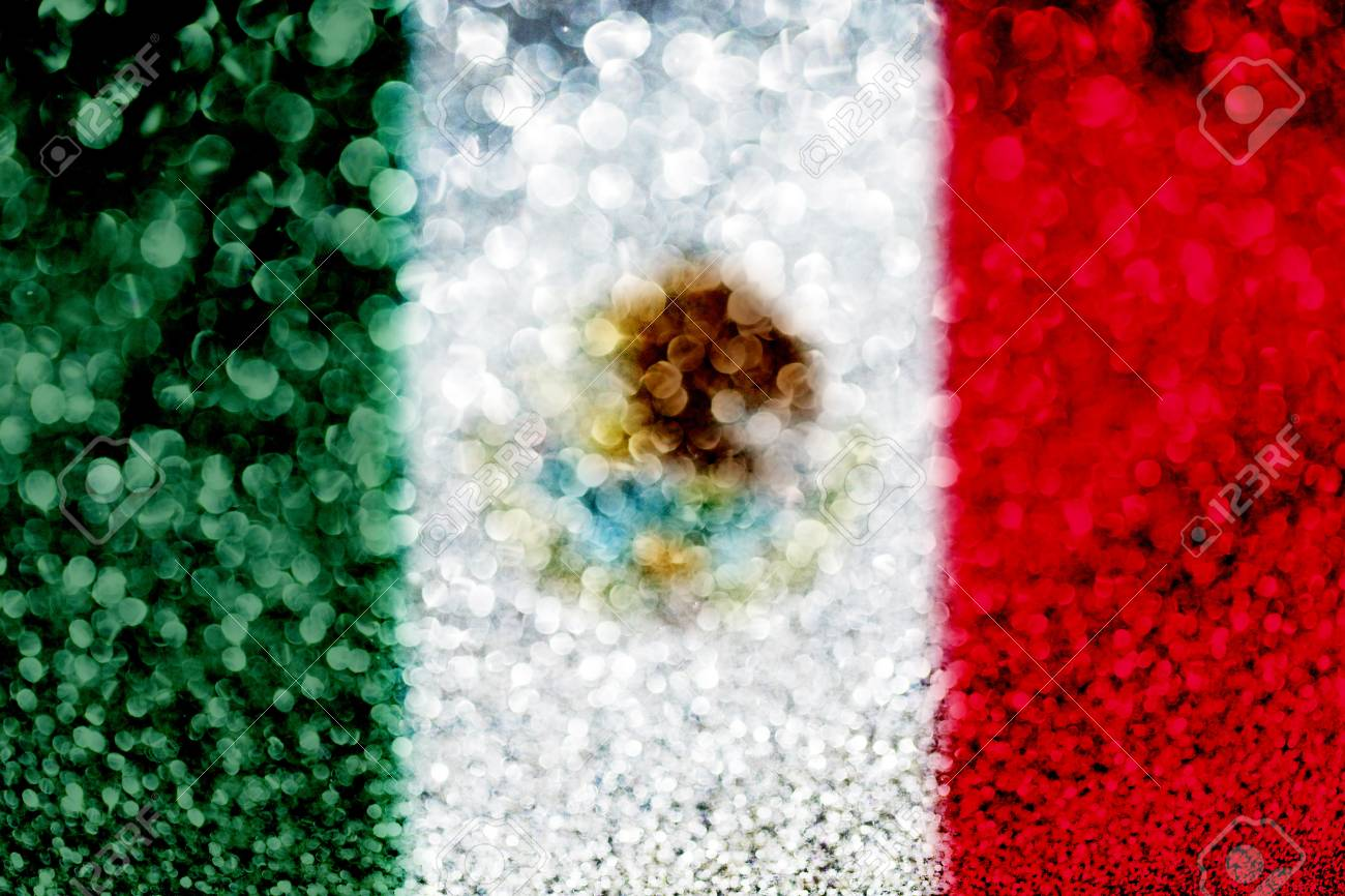 Mexico Flag Glitter Party Celebration Background Stock Photo 1300x866