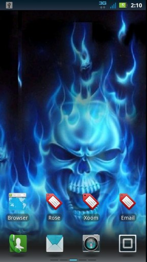 View bigger   Blue Fire Skull Live Wallpaper for Android screenshot 288x512