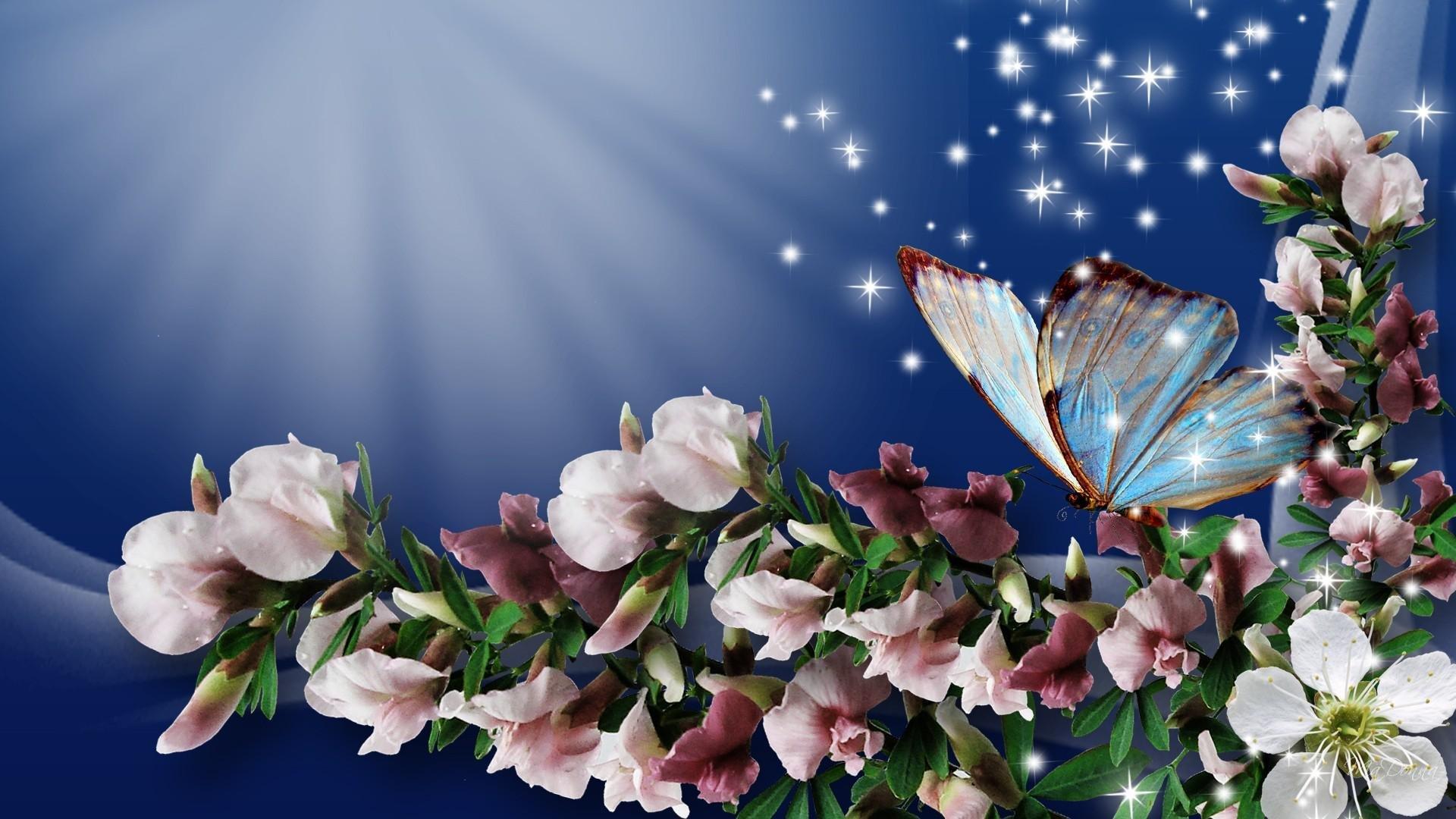 Flowers and butterflies wallpaper   SF Wallpaper 1920x1080