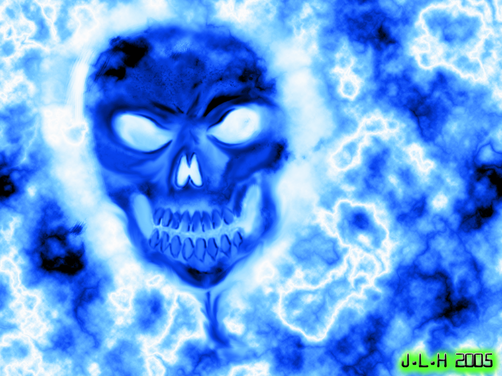 blue flames skull flame - photo #20