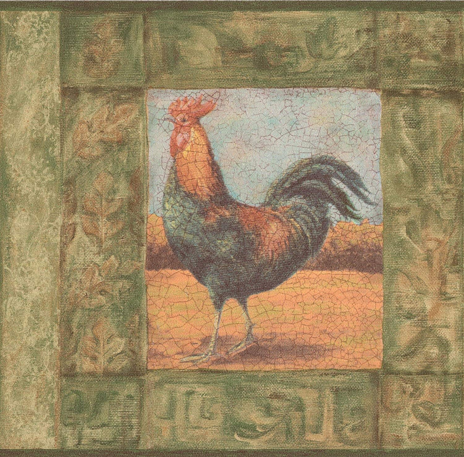 Cracked Green Frame Painting of Rooster Vintage Wallpaper Border 1500x1479
