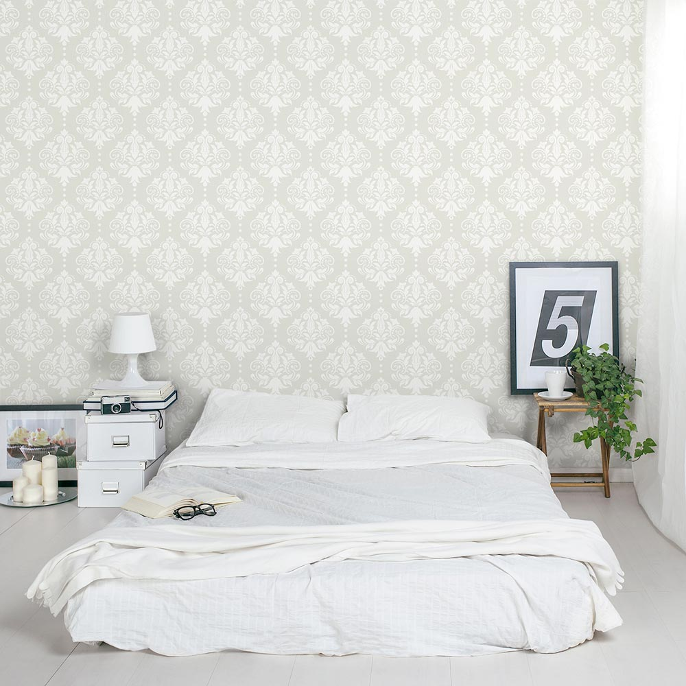 Damask Removable Wallpaper Tile Bedroom 1000x1000