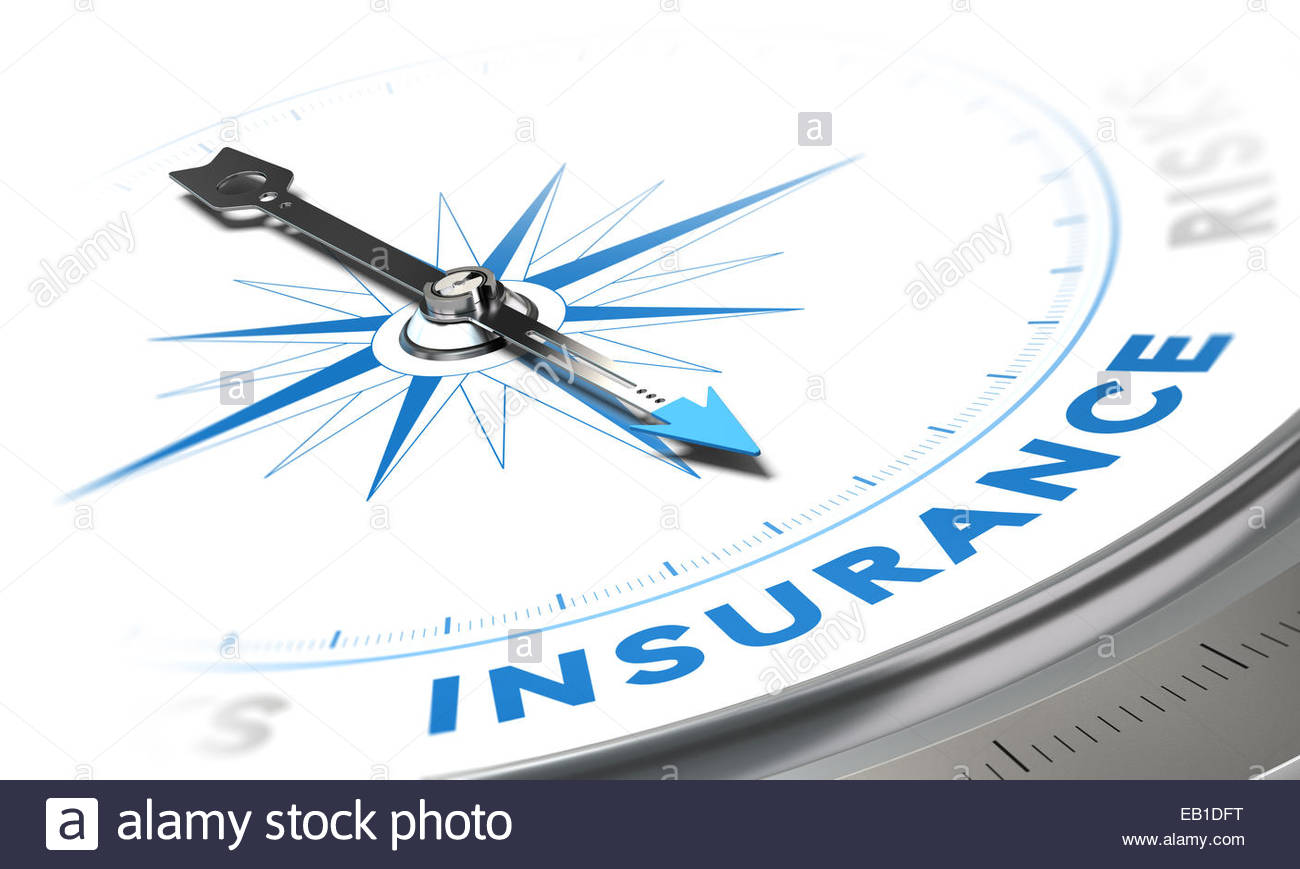 Insurance background concept Compass needle pointing a blue word 1300x869