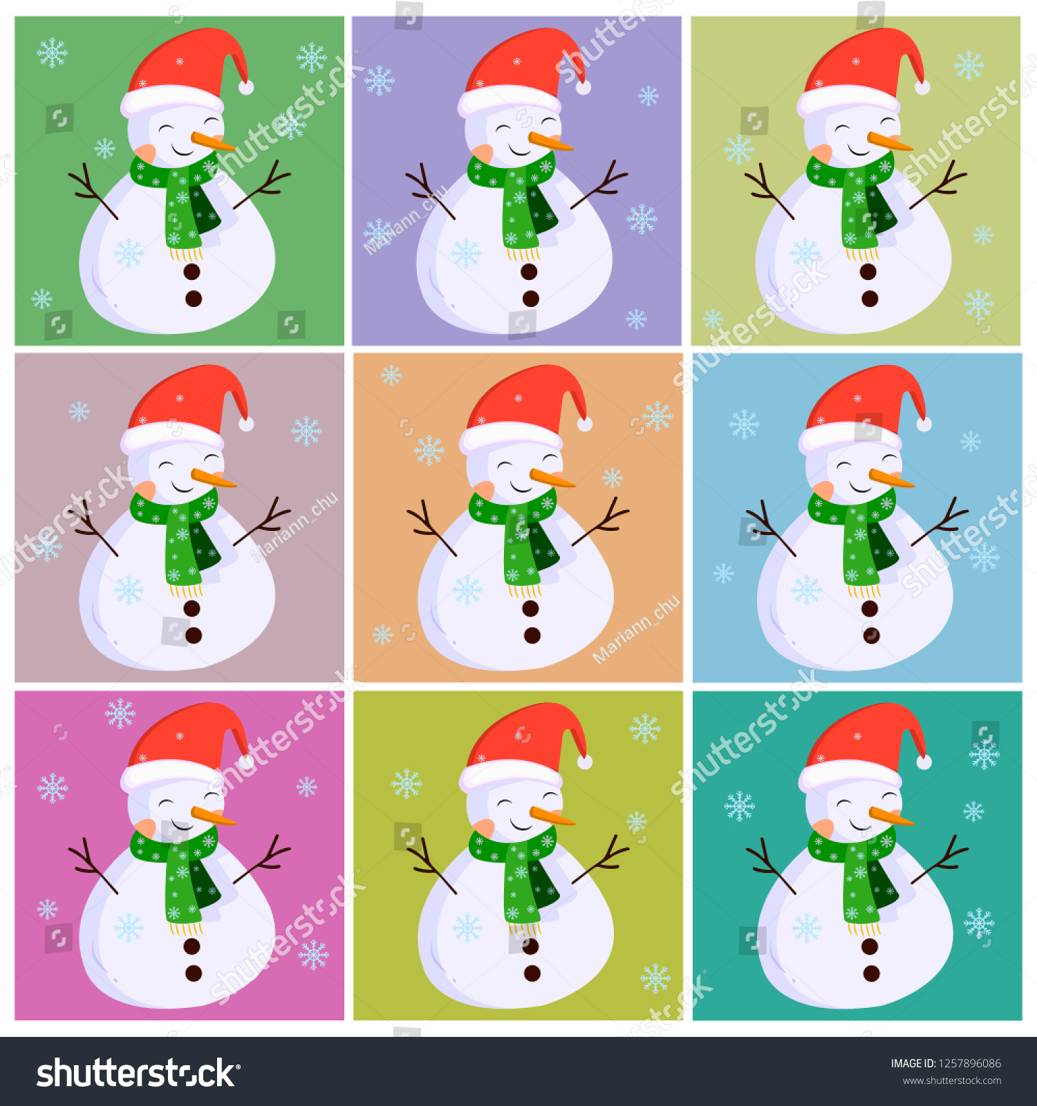 Snowmen Collection On Colorful Backgrounds Snowman Stock Vector 1500x1600