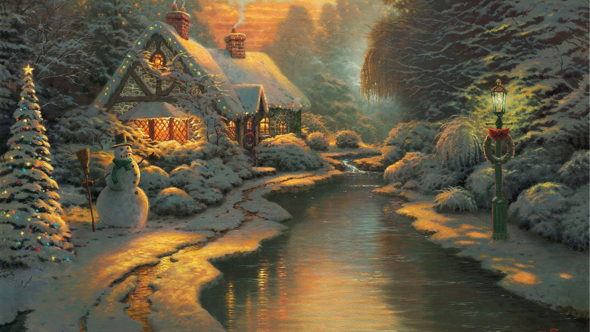 1920x1080 Christmas Cottage desktop PC and Mac wallpaper 1920x1080