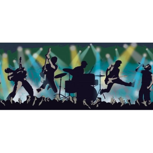 BLUE BAND IN CONCERT ROCK ROLL MUSIC BORDER   All 4 Walls Wallpaper 650x650