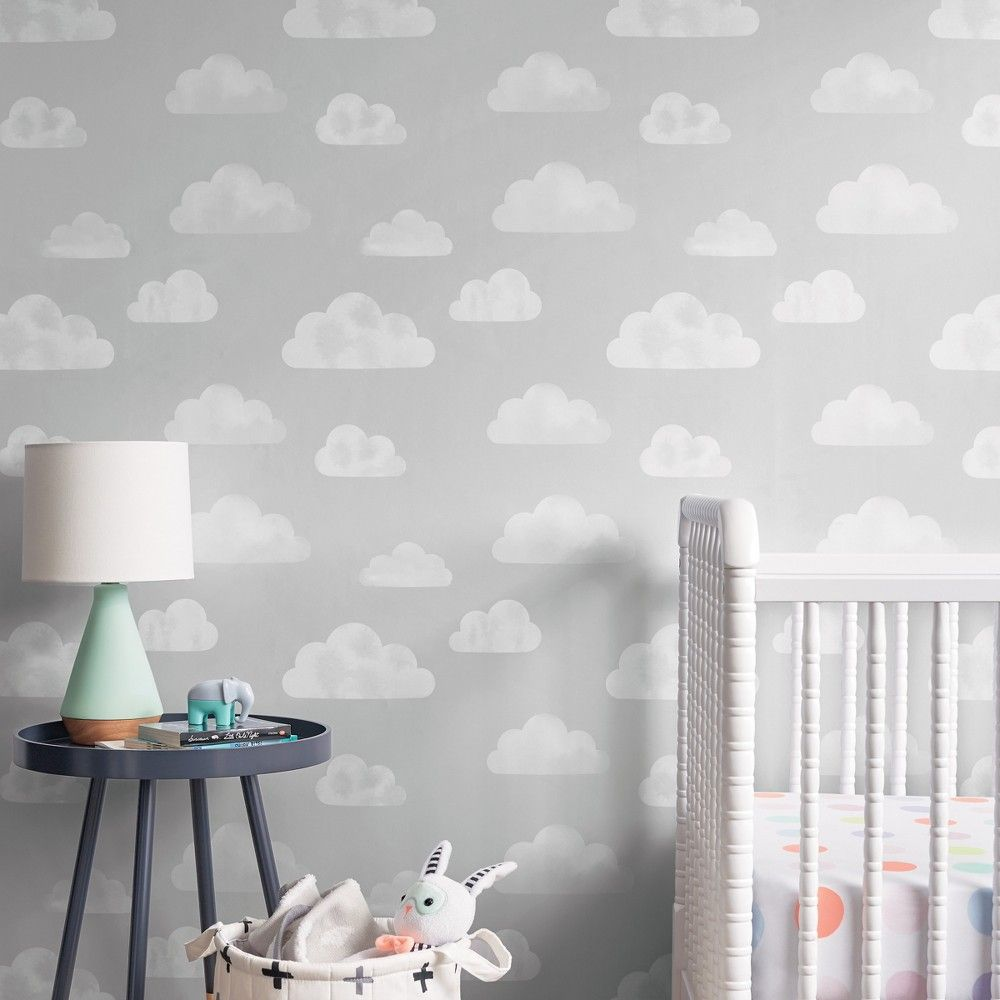 Peel Stick Wallpaper Stamped Stars Gray   Cloud Island Clouds 1000x1000