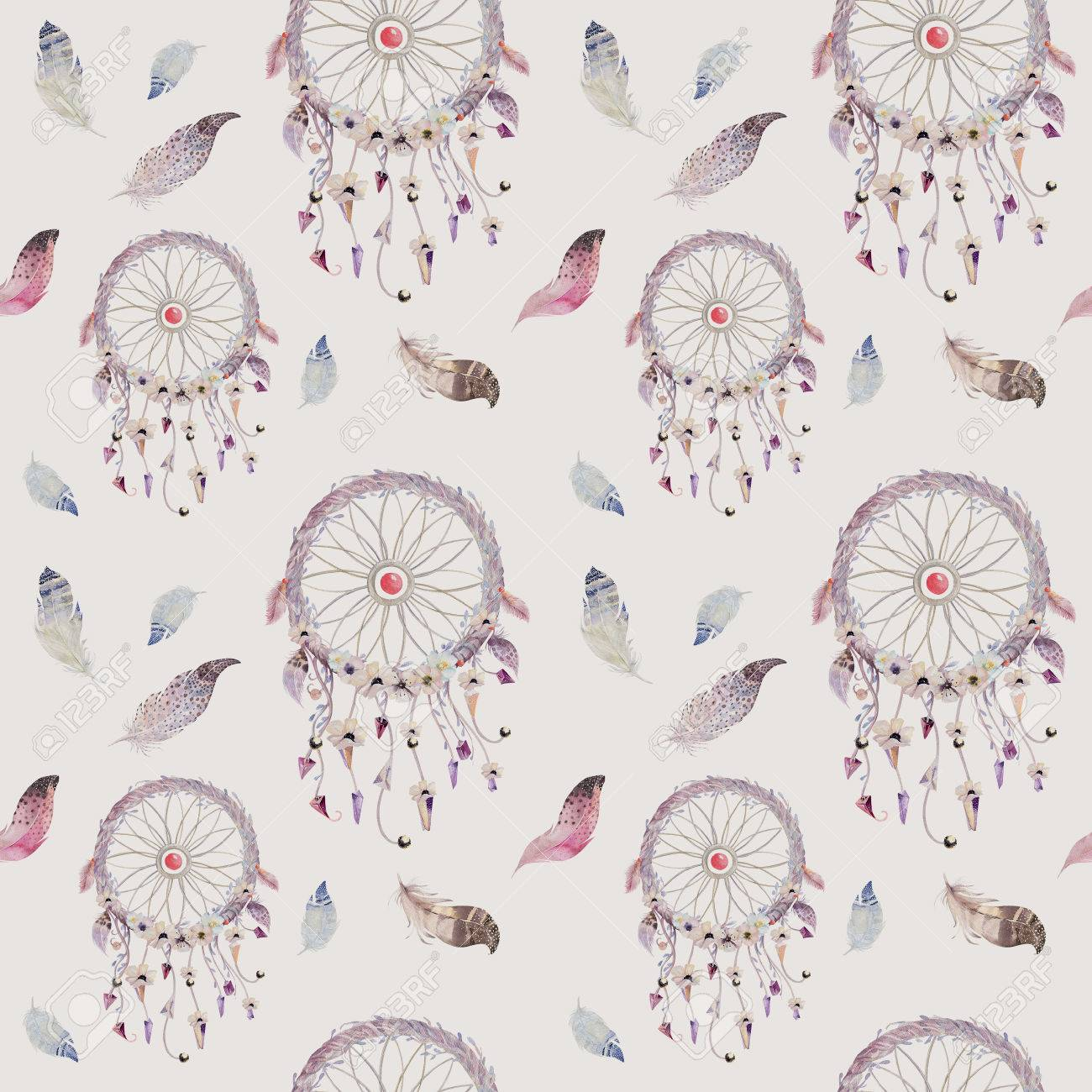 Dreamcatcher And Feather Pattern Watercolor Bohemian Decoration 1300x1300