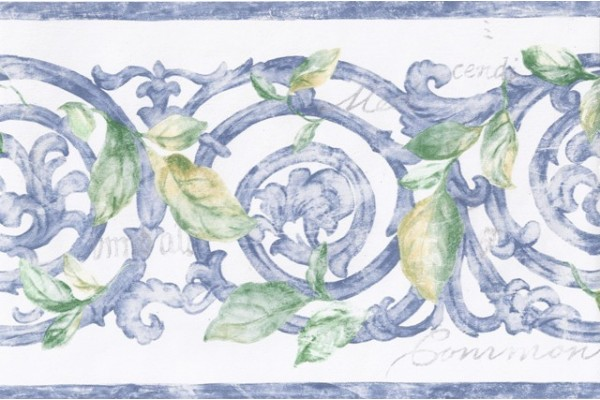 Home Blue White Stone Molding Leaves Wallpaper Border 600x400