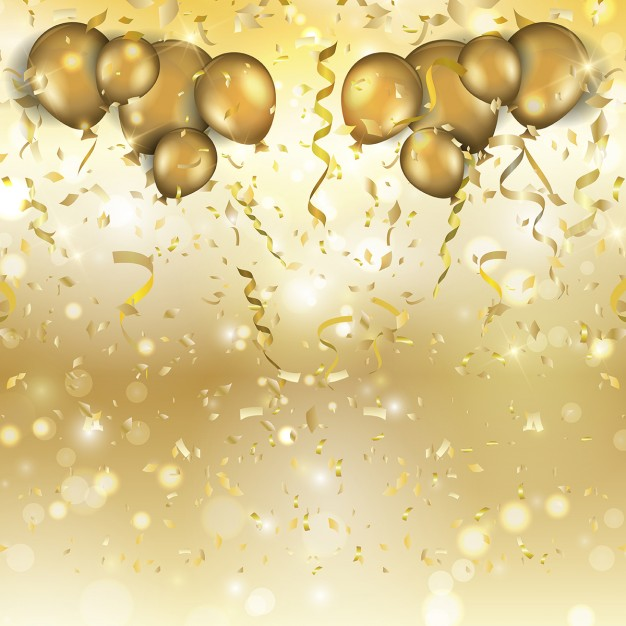 Golden balloons and confetti for a party Vector 626x626