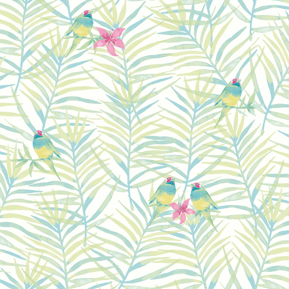 Palm Leaf Pattern Tropical Bird Motif Metallic Wallpaper 208801 1000x1000