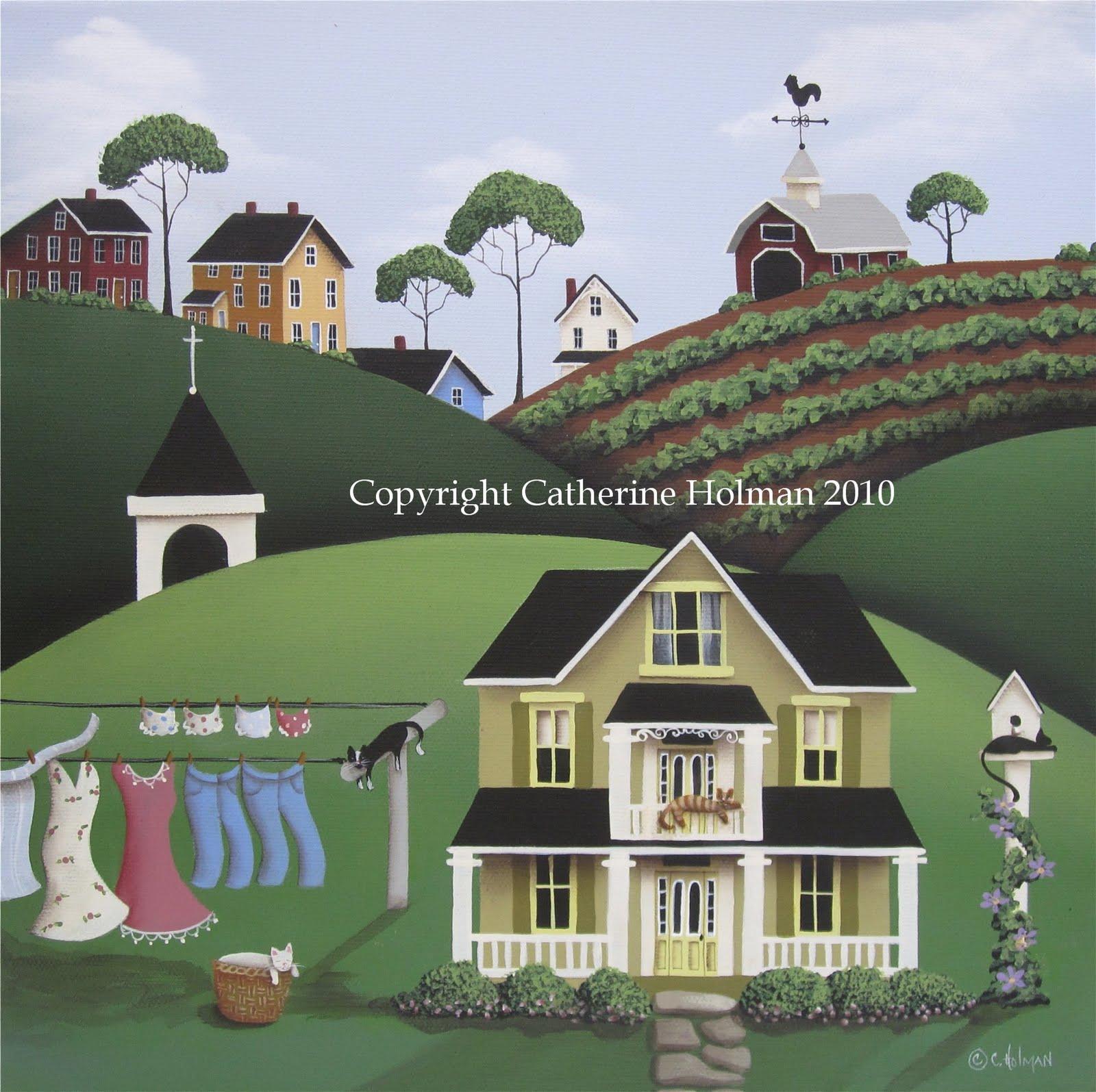 Holman Folk Art Three Folk Art Farm Scenes Create Wallpaper Border 1600x1595