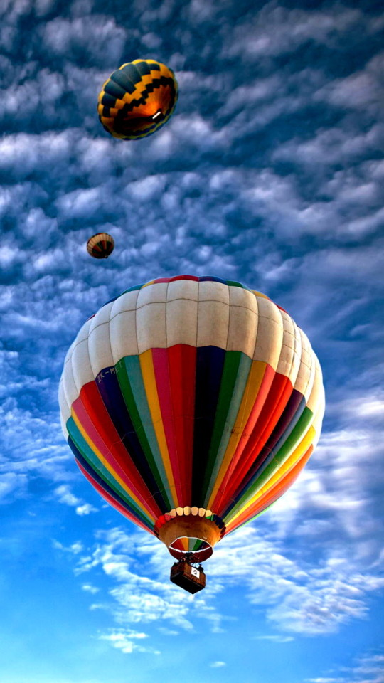 Colorful Hot Air Balloon In The Blue Sky Wallpaper   iPhone 540x960