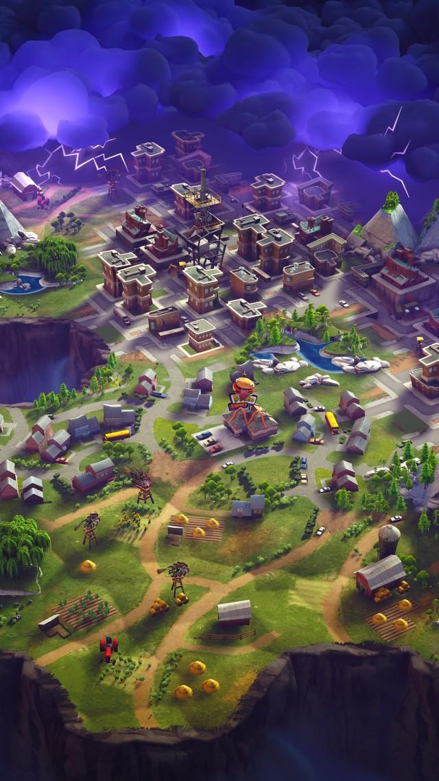 Wallpaper Fortnite game shooter city magic purple 640x1138