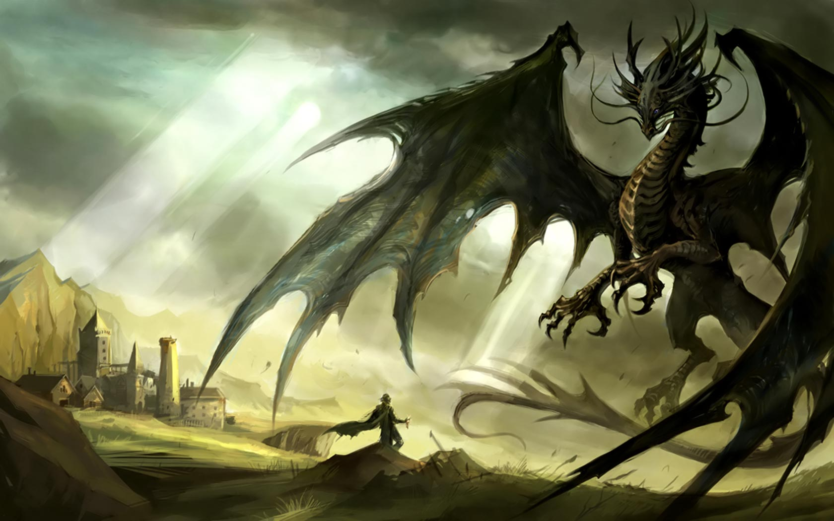 Dragon and Knight desktop backgrounds Desktop Wallpaper 1680x1050