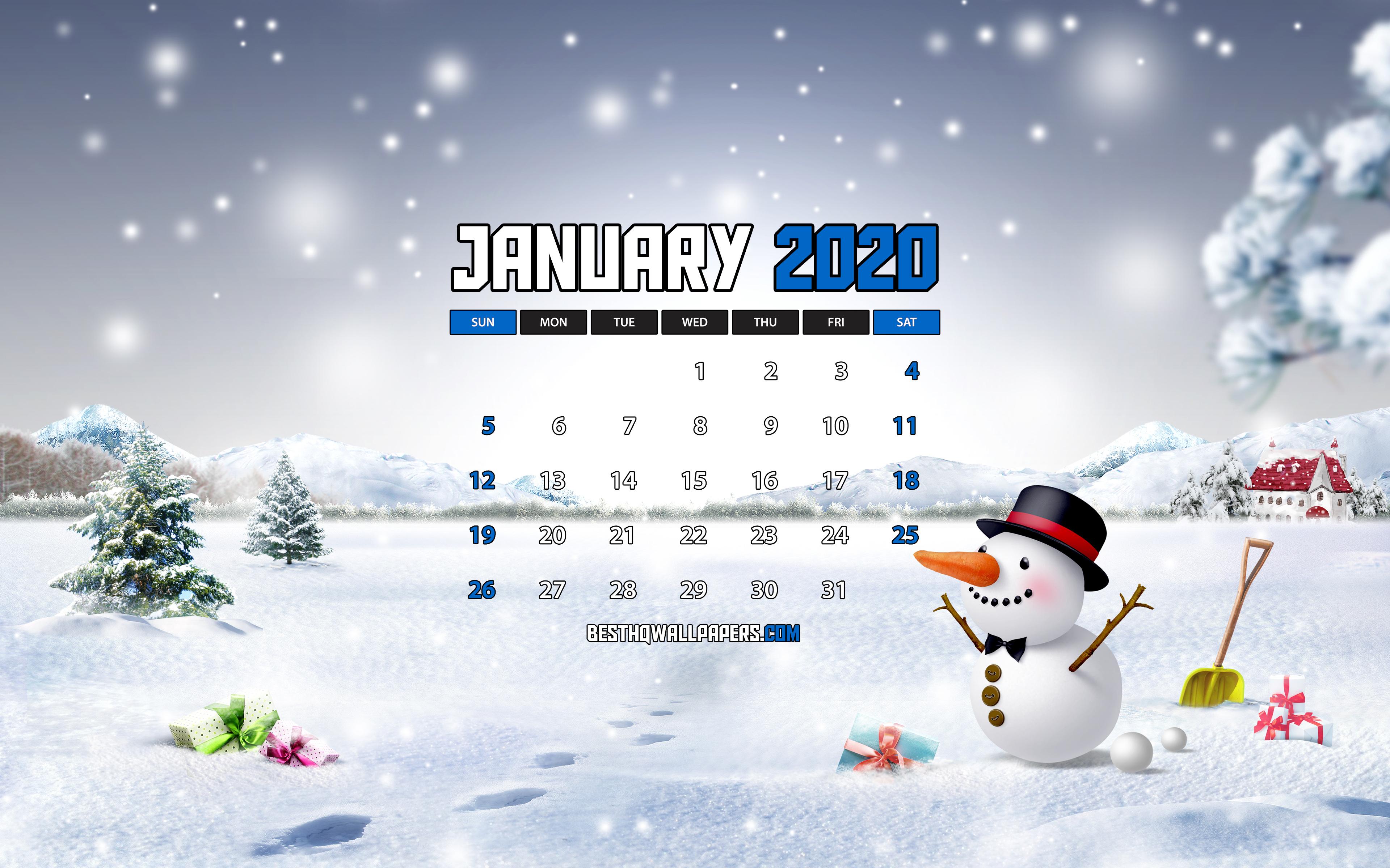 Download wallpapers January 2020 Calendar 4k snowman winter 3840x2400