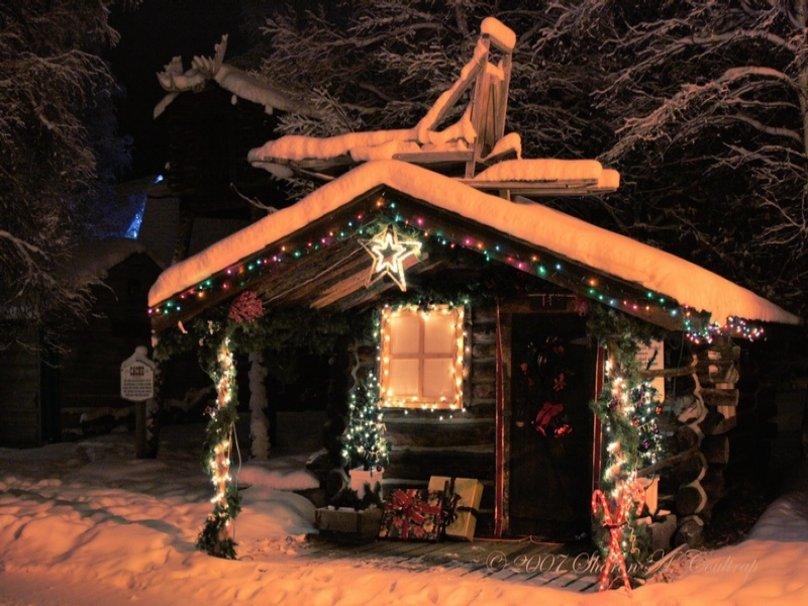 Christmas Log Cabin wallpaper   ForWallpapercom 808x606