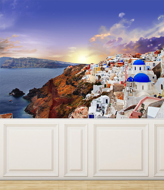 Wall Mural View of Santorini Island Peel and Stick Repositionable 570x660