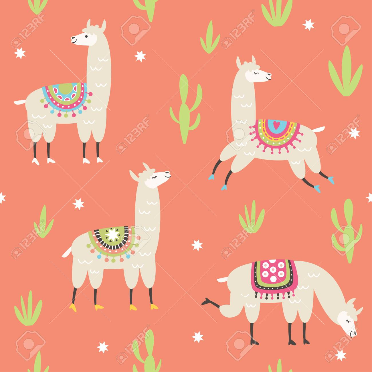 Seamless Pattern With Cute Llama Illustrations Pink Background 1300x1300
