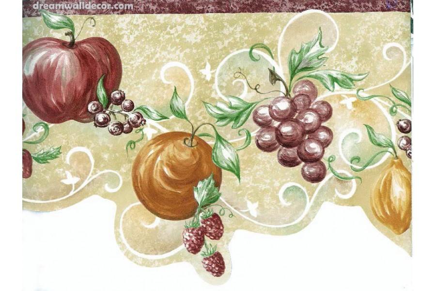 Orange Apple Grape Wallpaper Border 900x600