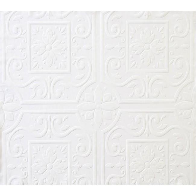 Home Medium Ceiling Tile Raised White Textured Paintable Wallpaper 650x650