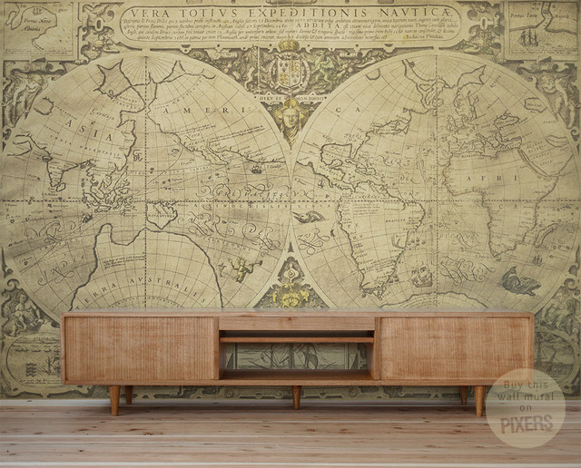 Vintage World Map   Wall Mural by PIXERS   Eclectic   Wallpaper 640x516