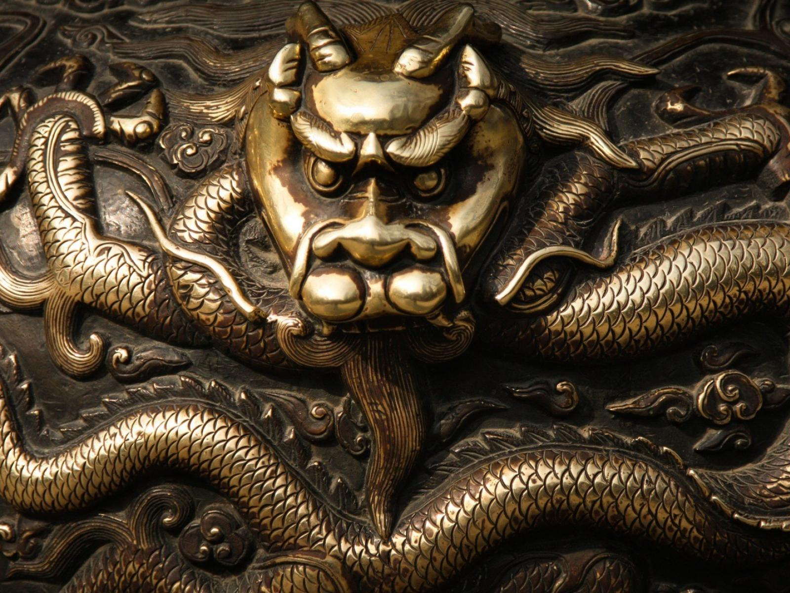 Dragons metallic oriental bronze asian art wallpaper 79777 1600x1200