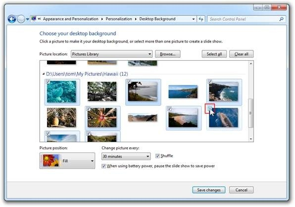 Desktop Background Control Panel Windows 7 adds support for libraries 596x419