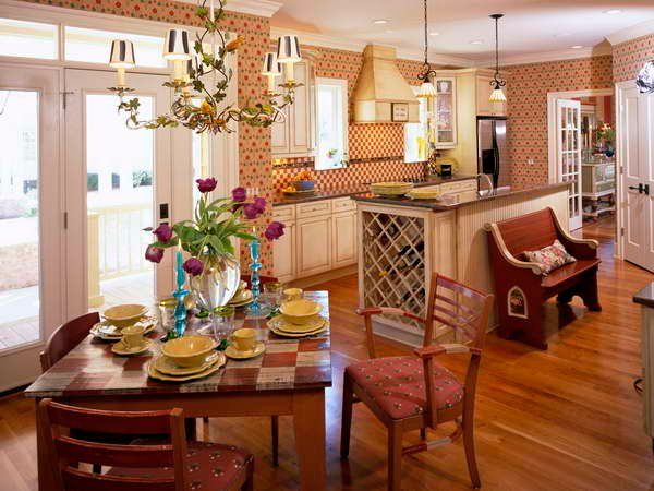 Kitchen French Country Kitchen With Wallpaper french style kitchens 600x450