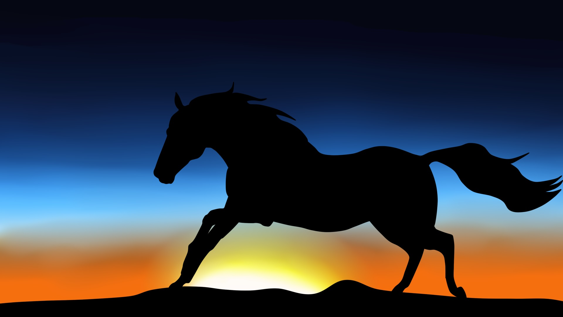 Wallpaper animal horse mane jumps tail silhouette sky wallpapers 1920x1080
