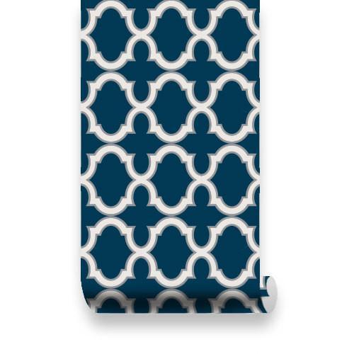 Moroccan Trellis Pattern WallPaper   Navy White   Pinknbluebabycom 500x500