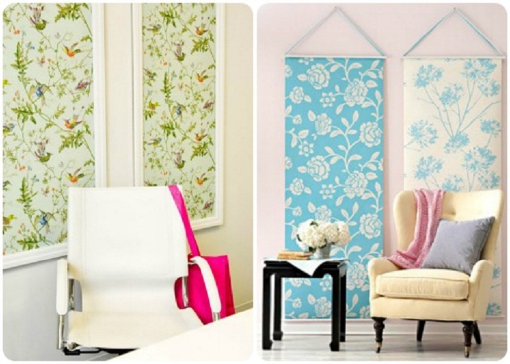 Use your favorite fabric to make fun removable wallpaper 736x525