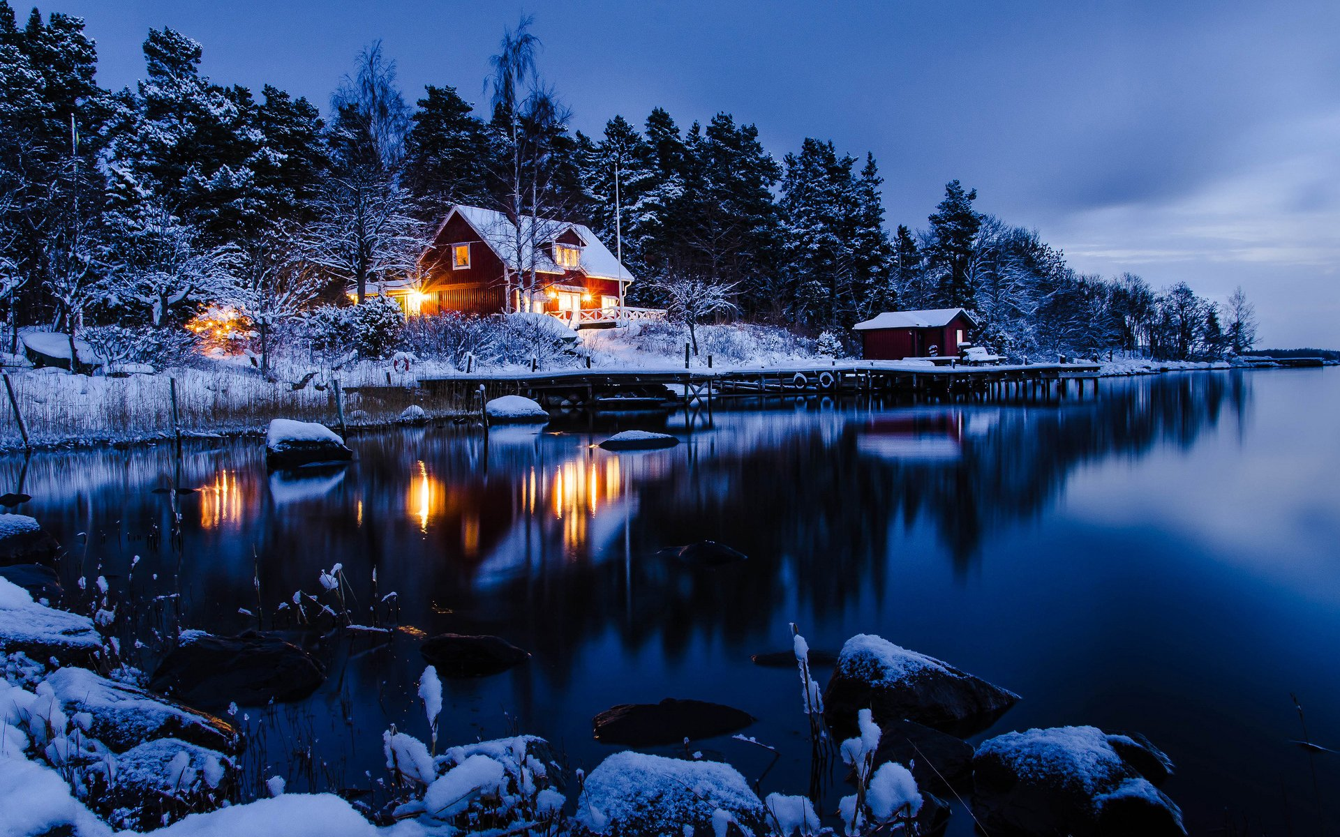 Winter Night Desktop Wallpaper 1920x1200
