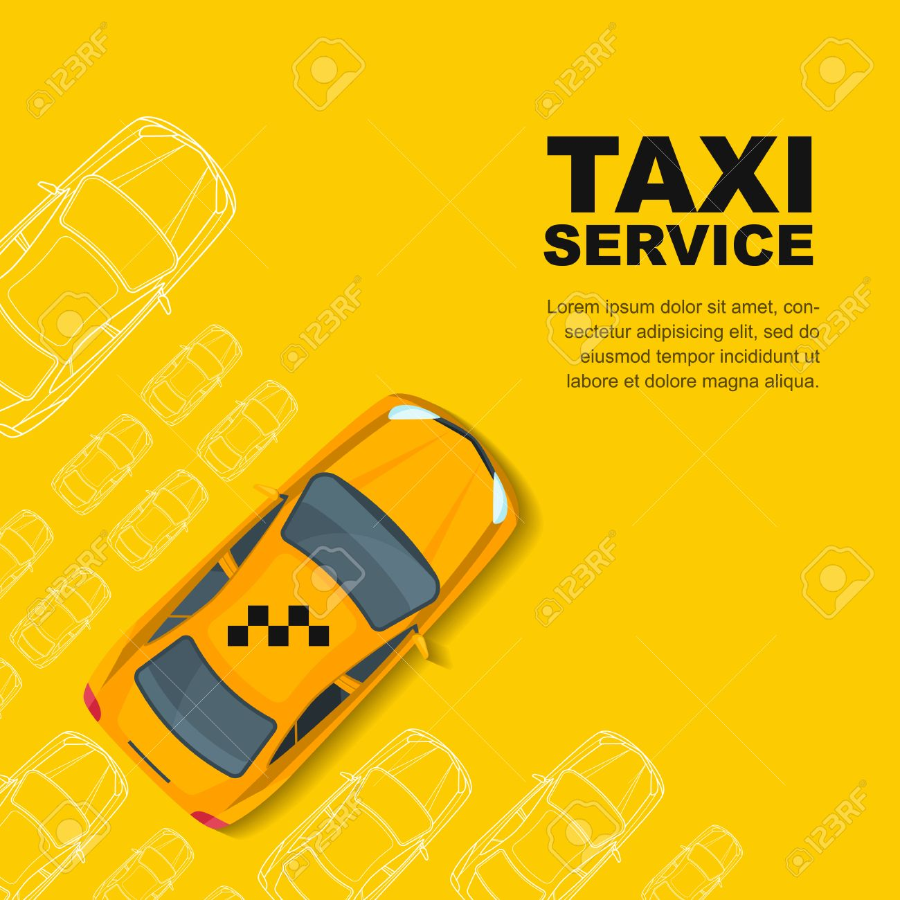 Taxi Service Concept Yellow Poster Or Background Template 1300x1300