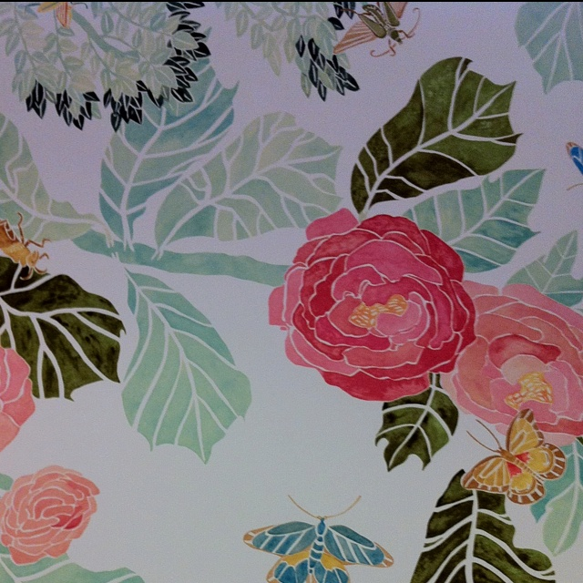 Anthropologie watercolor peony wallpaper wallpapersafari for Anthropologie wallpaper