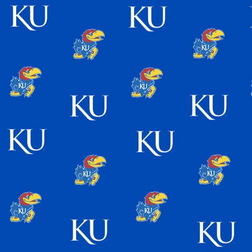 Kansas Jayhawks Fitted Crib Sheet   Blue 500x500