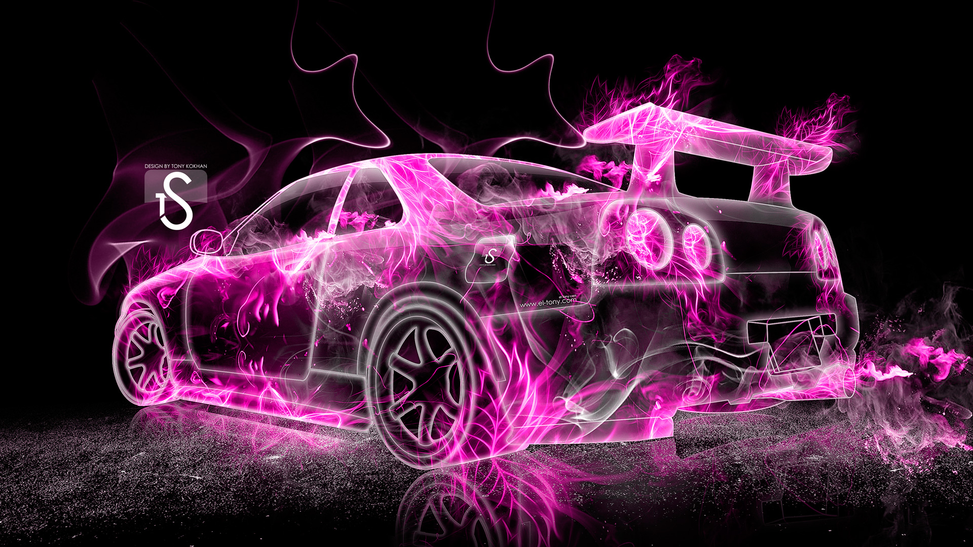 1920x1080 Nissan Skyline GTR R34 Pink Fire Abstract Car 2013 HD Wallpapers By  .