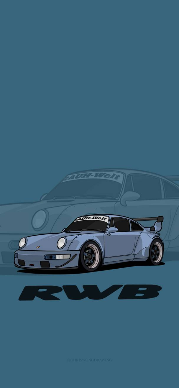 RWB Porsche illustration iPhone Wallpaper HD by cwdrawing on 607x1316